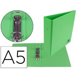 Carpeta de 2 anillas 40 mm redondas liderpapel a5 carton forrado pvc verde