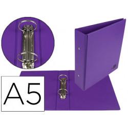 Carpeta de 2 anillas 40 mm redondas liderpapel a5 carton forrado pvc violet