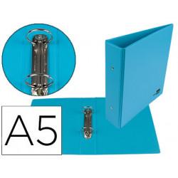 Carpeta de 2 anillas 40 mm redondas liderpapel a5 carton forrado pvc azul