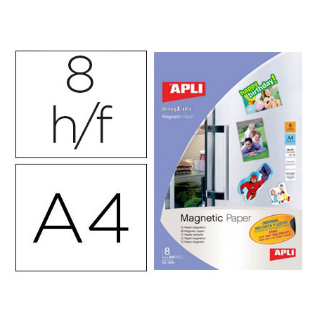 Papel magnetico apli blanco din a4 para impresoras inkjet paquete de 8 hoja