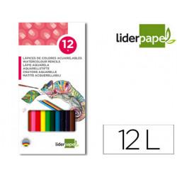 Lapices de colores acuarelables liderpapel caja de 12 colores