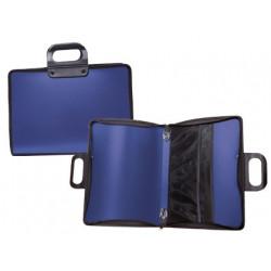 Cartera portadocumentos liderpapel azul con asa y cremallera 400x45x300 mm