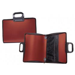 Cartera portadocumentos liderpapel roja con asa y cremallera 400x45x300 mm