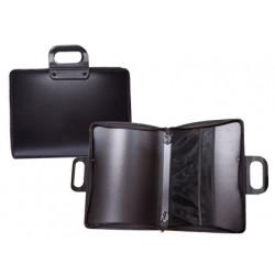 Cartera portadocumentos liderpapel negra con asa y cremallera 400x45x300 mm