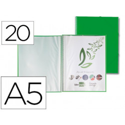 Carpeta liderpapel escaparate con espiral 20 fundas polipropileno din a5 ve