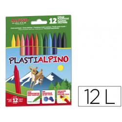 Lapices cera plastialpino caja de 12 colores