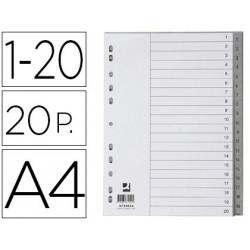 Separador numerico qconnect plastico 120 juego de 20 separadores din a4 m