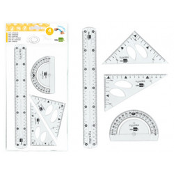 Juego escuadra 10 cm cartabon 14 cm regla 30 cm y semicirc plastico flexib
