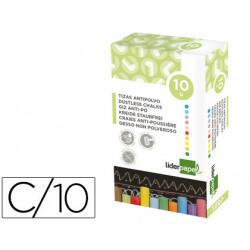 Tiza color antipolvo liderpapel caja de 10 unidades colores surtidos