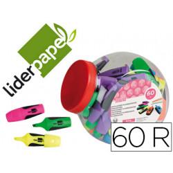 Rotulador liderpapel mini fluorescente bombonera 60 unidades colores surtid