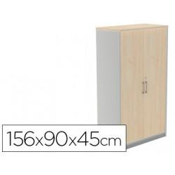 Armario rocada con tres estantes y dos puertas enteras serie store 156x90x4