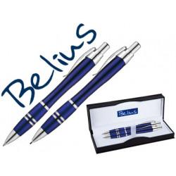 Juego de boligrafo y portaminas belius kassel azul con detalles plateados e