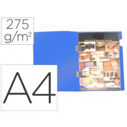 Subcarpeta plastificada gio din a4 azul con cubre grapas 275 g/m