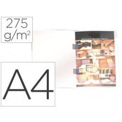 Subcarpeta plastificada gio din a4 blanca con cubre grapas 275 g/m