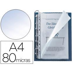 Funda multitaladro qconnect din a4 80 micras cristal con apertura superior