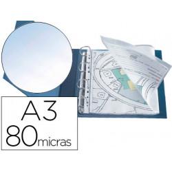 Funda multitaladro qconnect din a3 apaisada 80 micras cristal con apertura