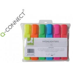 Rotulador qconnect fluorescente punta biselada estuche de 6 colores