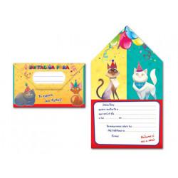 Invitacion a mi fiesta arguval sobre gatos blister 8 modelos surtidos