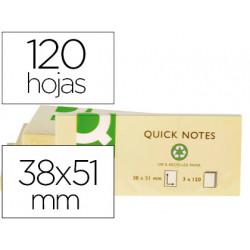 Bloc de notas adhesivas quita y pon qconnect 38x51 mm papel reciclado amar