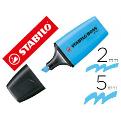 Rotulador stabilo boss fluorescente mini azul