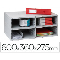 Archivador modular archivo 2000 archivodoc duo jumbo 4 casillas gris 600x36