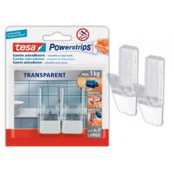 Gancho autoadhesivo tesa powerstrips grande transparente/acero + tiras suje
