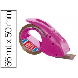 Portarrollo tesa embalaje para rollos de 66 mt x 50 mm rosa incluye 1 rollo