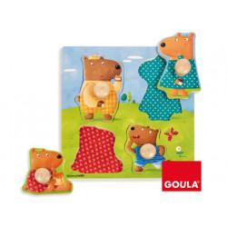 Puzzle goula madera 4 piezas familia osos