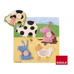Puzzle goula madera 4 piezas animales granja color