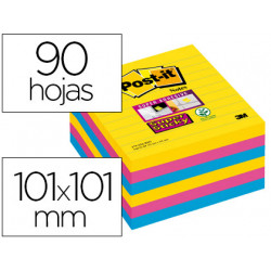 Bloc de notas adhesivas quita y pon postit super sticky 101x101 mm con 90