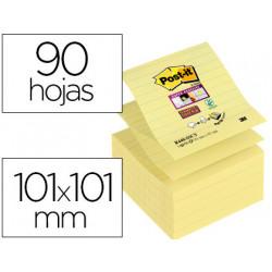 Bloc de notas adhesivas quita y pon postit super sticky rayado 101x101mm 9