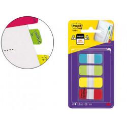Banderitas separadoras rigidas dispensador 4 colores amarillo azul lima y r