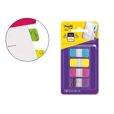 Banderitas separadoras rigidas dispensador 4 colores amarillo azul rosa y v