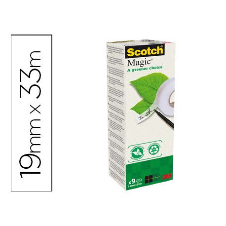 Cinta adhesiva scotch magic 33x19 mm pack de 9 rollos