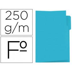 Subcarpeta cartulina gio folio pestaña izquierda 250 g/m2 azul