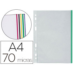 Funda multitaladro qconnect din a4 70 mc cristal con borde colores surtido