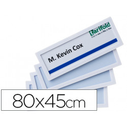 Marco identificacion tarifold adhesivo 80x45 mm blanco pack de 4 unidades