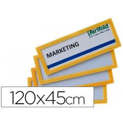 Marco identificacion tarifold adhesivo 120x45 mm amarillo pack de 4 unidade