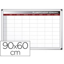 Planning rocada semanal magnetico rotulable marco de aluminio 90x60 cm