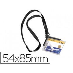 Identificador con cordon plano durable acrilico diagonal 54x85mm
