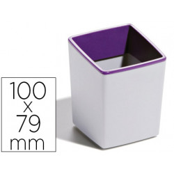Cubilete portalapices durable plastico color gris/morado con base antidesli