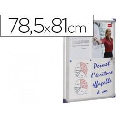 Vitrina de anuncios nobo mural magnetica extraplana de interior con puerta