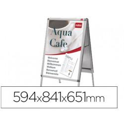 Caballete para poster nobo aluminio doble cara din a1 con cantoneras 594x8