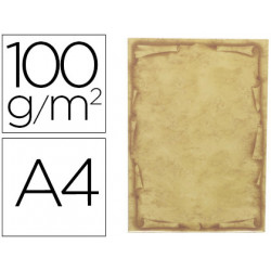 Papel pergamino liderpapel din a4 orla papiro 100 g/m2 paquete de 12 hojas