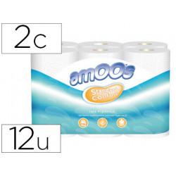 Papel higienico amoos 2 capas 100 mm diametro x 87 mm alto paquete de 12 ro