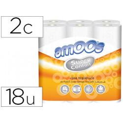 Papel higienico amoos doble largo 2 capas 120 mm diametro x 90 mm alto paqu
