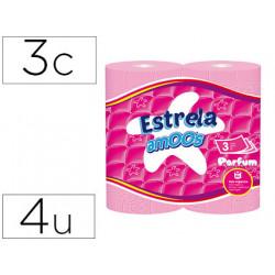 Papel higienico amoos 3 capas 120 mm diametro x 90 mm alto paquete de 4 rol