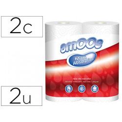 Papel de cocina amoos 21g/m2 ancho 240 mm largo 10 mt 2 capas paquete de 2