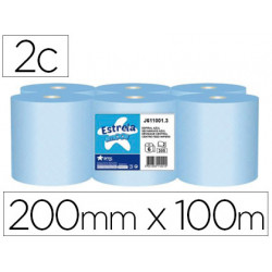 Papel secamanos amoos 2 capas 200 mm x 100 mt color azul paquete de 6 rollo