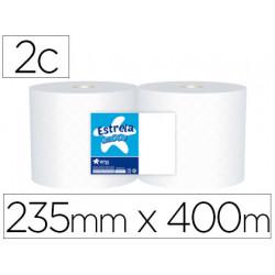 Papel secamanos industrial amoos 2 capas 235 mm x 400 mt paquete de 2 rollo